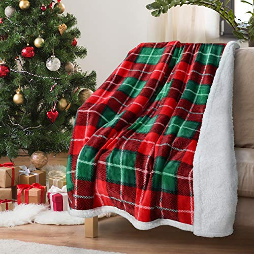 Red Buffalo Plaid Christmas Throw TV Sherpa Blanket 50' x 60', Super Soft Warm Comfy Plush Fleece Bedding Couch Cabin Decorative Throw Blanket