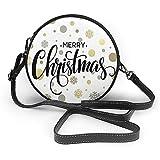 TURFED PU rotonda Shoulder Bag Natale Buon Natale stilizzato scritta sulla moderna astratta del fiocco di neve modello di puntino di Oro Taupe Shoulder Bag