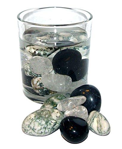 200 Gramm Edelsteinwasser POWER Mischung zur Wasseraufbereitung Set aus Bergkristall/Baumachat/ Turmalin schwarz.(2465)