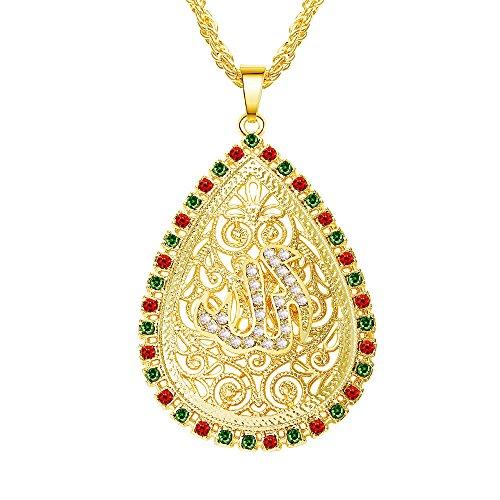 Religiöse Schmuck Der Koran Allah Islam muslimische Anhänger Halskette für Männer Frauen Hohl Strass Gold Kette