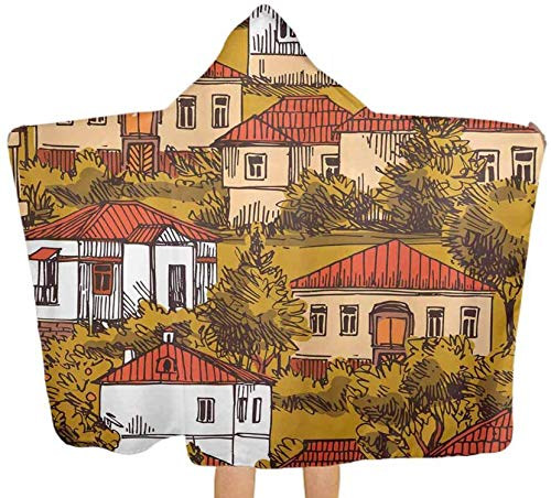 Bernice Winifred Toalla de baño Grande Manta Courty Houses Village Toallas de baño Suaves con Capucha para bebé, niño pequeño, bebé130x150cm (51.2x59.1 '')
