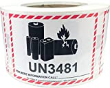 """Lithium-Ion Battery Caution Labels, 3.25"""" x 4.25"""" Small Safety Stickers 500-Pack"""