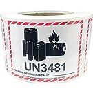UN3481 リチウムイオン電池の小さいパッケージのステッカー, 83 x 108 mm 3.25 x 4.25 インチの警告ラベル 500 パック