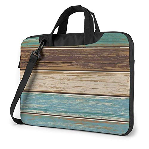 Rustic Wood Plank Lightweight Waterproof Laptop Notebook Shoulder Backpack Bag Briefcase Messenger with Strap 15.6″