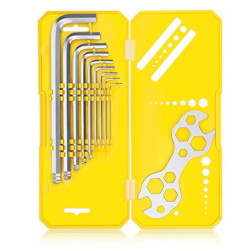 JOHNBEE Allen Wrench Set - Best Hex Key Wrench Set - Long Arm Ball End - 9 Piece (1.5-10 Mm) - Premium Quality Metric Allen Wrenches Set - Allen Key Set Box With Mini 10 in 1 Bike Wrench - Handy Tool