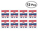 LUOEM Flagge Fahne Kroatien Länder Temporäre Tattoos Aufkleber Fanartikel Fussball WM 2018 12 Stücke Croatia