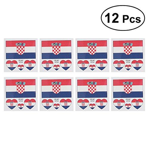 LUOEM Vlag Kroatië landen Tijdelijke tattoos sticker fanartikel voetbal WK 2018 12 stuks Croatia