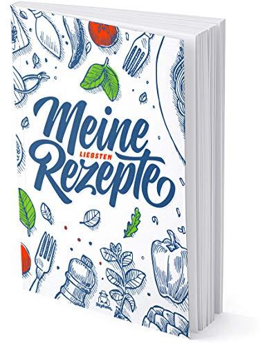 Kleines DIN A5 Rezeptbuch zum Selberschreiben für 50 Lieblingsrezepte, 96 Seiten, Softcover, hochwertige Fadenbindung, blanko DIY Kochbuch selbst schreiben (Weiß)