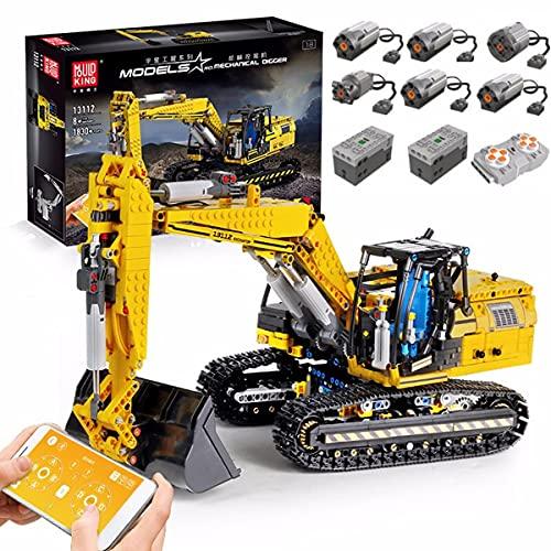 HEID Technik Bagger Bausteine, Mould King 13112 2.4G/APP Ferngesteuert Technik Raupenbagger Modell mit 6 Motoren und Fernbedienung, Kompatibel mit Lego technic - 1830 Telie
