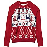 Blueberry Pet Unisex Ugly Christmas Reindeer Pullover Sweater in Tango Red & Navy Blue, Small