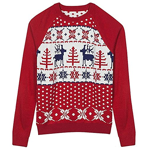 Blueberry Pet Men's Women's Reindeer Snowflake Ugly Christmas Sweater for Pet Owners in Tango Red & Blue, Small, Matching Holiday Dog Sweater Available Separately