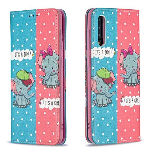 Miagon Brieftasche Hülle für Samsung Galaxy A70,Kreativ Gemalt Handytasche Case PU Leder Geldbörse mit Kartenfach Wallet Cover Klapphülle,Elefant