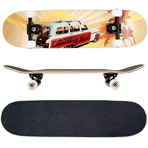 FunTomia - Skateboard con Cuscinetti Mach1 - Ruote a Profilo scanalato (100A) - Legno d'Acero Canadese a 7 Strati