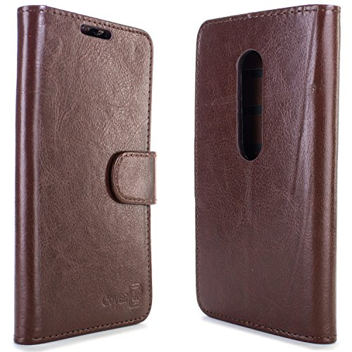 Moto G 3rd Gen Wallet Case, CoverON [Executive Series] Synthetic Leather Flip Folio Cover Pouch LCD+Stand Case for Motorola Moto G 3rd Generation 2015 - Brown