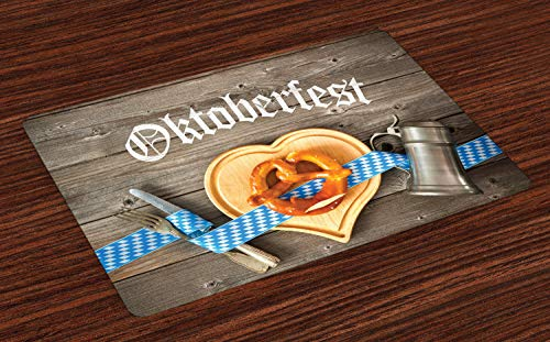 Lunarable Oktoberfest Place Mats Set of 4, Oktoberfest Beer Festival Cutlery Ribbon and Cutting Board on Restaurant Table, Washable Fabric Placemats for Dining Table, Standard Size, Brown Blue