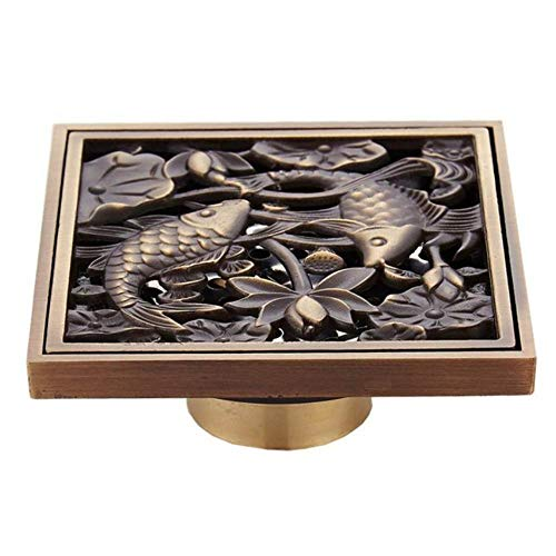 A1210 Antike Messing Bodenablauf Dusche Bodenablauf Quadrat Küche Abfluss Filter Kunst Carving Europäischen Stil Bad Deo Abfluss A3