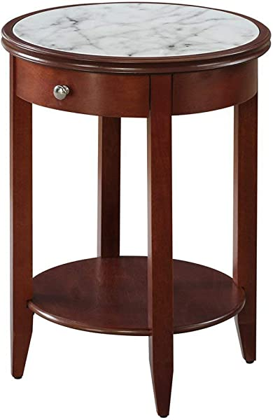 Convenience Concepts American Heritage Baldwin End Table With Drawer Mahogany Faux Marble