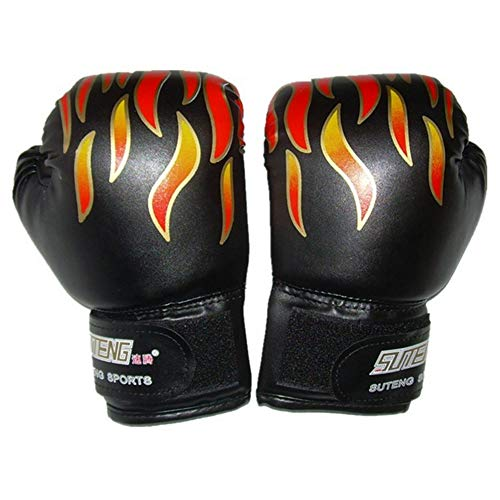 Ruiting 1 Paar Kinder Boxhandschuhe Flamme Drucken Kickbox bagwork Gel Sparring Training Handschuhe Muay Thai Style Boxsack Mitts Kampf Handschuhe Schwarz Sport-Produkte