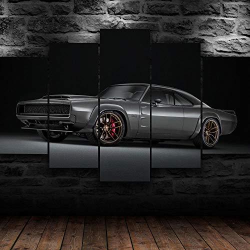 IKDBMUE Cuadros Modernos Impresión de Imagen Artística Digitalizada | Lienzo Decorativo para Tu Salón o Dormitorio | Super Cargador clásico 1968 Supercar | 5 Piezas 150x80cm
