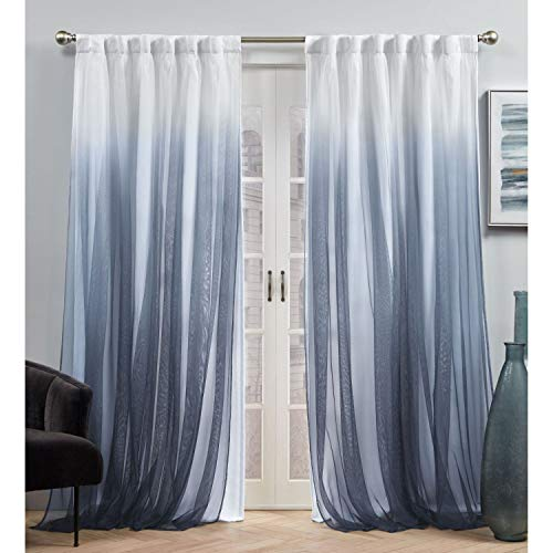 Exclusive Home Curtains Crescendo Lined Blackout Hidden Tab Top Curtain Panel Pair, 54x96, Indigo