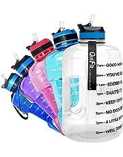 QuiFit Butelka na napoje z nadrukiem, 2,2 l, butelka na napoje, butelka na siłownię, odporna na wyciek, butelka sportowa, bez BPA, przezroczysta, 2,2 l