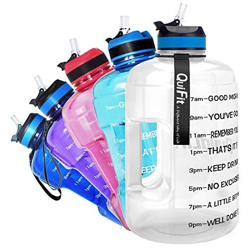 QuiFit Gourde de 2,2 l avec inscription : « Encouragement » et paille Flip Paille - Grande bouteille pour le fitness, la gym, les voyages, le jogging - Anti-fuite - Sans BPA (transparent, 2,2 L)