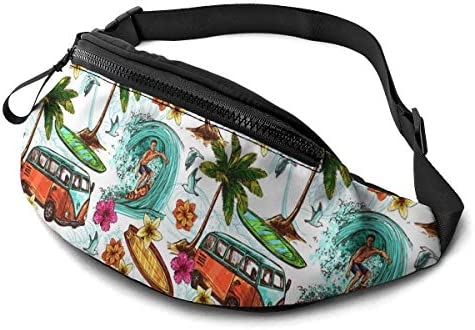 Hawaiian Surfer Retro Palm Trees Flowers Surf Boards Print Fanny Pack for Men Women Soft Lightweight product image