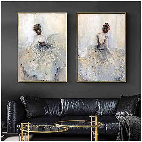 Cuadros en lienzo 50x70cm 2 piezas SIN marco Carteles e impresiones elegantes de bailarina de ballet Cuadros artísticos de pared Pintura en lienzo para la decoración del dormitorio de la sala de estar