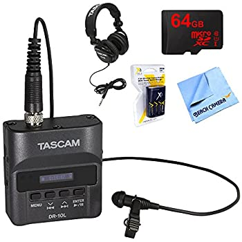 Tascam Portable Digital Studio Recorder with Lavaliere Microphone  DR-10L  with Professional Headphones 64GB MicroSDXC Memory Card AA Charger with 4 2950mah AA Batteries & 1 Piece Micro Fiber Cloth