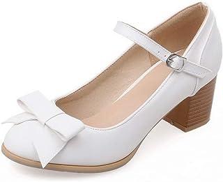 BalaMasa Womens Bows Solid Casual Urethane Pumps Shoes APL10554