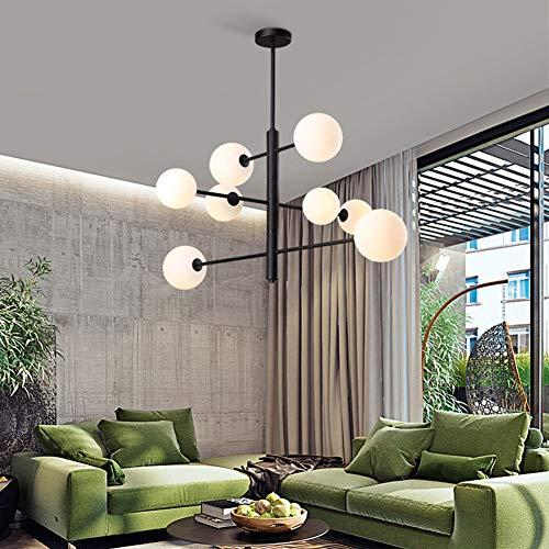 Meetyou Post Moderne en Verre forgé Lustre en Fer, Salon hôtel Appartement Restaurant Lustre, éclairage Simple créatif,Black