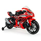 Injusa – Moto Honda CBR 12 V con licenza ufficiale, consigliata a partire da 3 anni, con luci, suoni e acceleratore sulla manopola, colore rosso