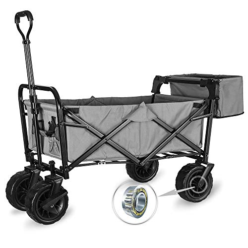 WHITSUNDAY Collapsible Folding Garden Outdoor Park Utility Wagon Picnic Camping Cart with Fat Wheel Bearing and Brake Standard SizePlus 8quot Heavy Duty Wheels Grey