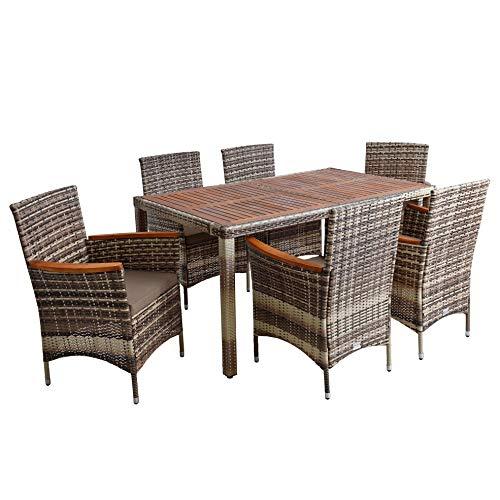 ESTEXO Polyrattan Sitzgruppe Gartenmöbel Set 6 Personen Akazie Holz Rattan Möbel Gartenset Holzmöbel Akazienholz Akazie Essgruppe (Beige-Braun)