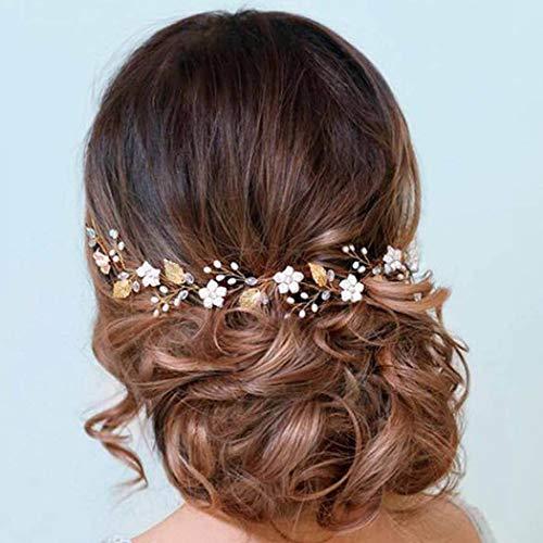 Handcess Hojas de novia Boda Vine Silver Pearl Opal Headpiece Flower Rhinestone...