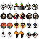 12 Paires Boucles d'Oreilles Africaines en Bois Boucles d'Oreilles Carte Africaine Pendantes de Style Ethnique Bijoux Accessoires Femme Fille Artisanat Bricolage