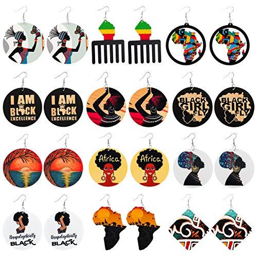 BFACCIA Orecchini Africani 12Pcs Rotondi Pendenti Ciondola Anello Vintage Accessori Gioielli in Legno Africano di Testo Stile Etnico Bohemien per Donna Ragazze Signora Regalo 20 * 14 * 4cm