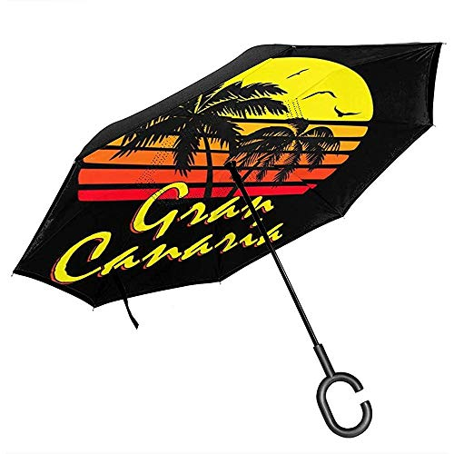 Gran Canaria Vintage Sun Inverted Umbrella For Car Reverse Folding Upside Down C Shape Hands Lightweight Windproof Ideal Gift