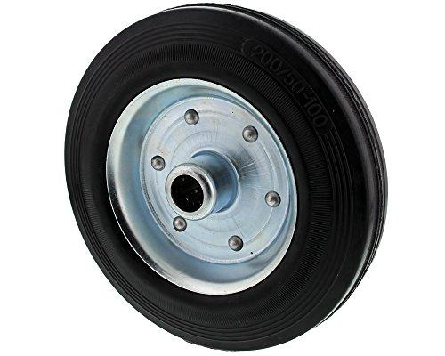 The Drive -16520-0200- Vollgummi Reifen auf Stahlfelge Stahlblechfelge für Stützrad (200 x 48 mm)
