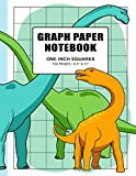 Graph Paper Notebook 1 Inch Squares: Quad Ruled Grid Paper Journal for Kids and Adults, 100 Pages, Double-sided, Non-perforated, 8.5 x 11 inches, Cute Colorful Dinosaur Family Cover
