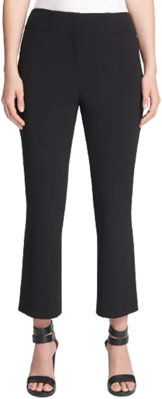 DKNY Womens Black Wear to Work Flared Ankle Pants, Black Size: 8