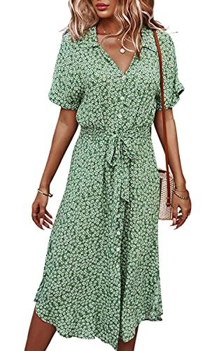 Angashion Vestidos de mujer Casual manga corta estampado floral botón abajo cuello en V verano Boho Midi vestido, 2168verde, Medium