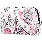 Bolsa de maquillaje personalizable, portátil, bolsa de aseo para mujer, bolso de mano, organizador de viaje, diseño de la Torre Eiffel de París, color rosa, retro, con globo terráqueo