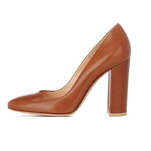 bcf71cf76e78 Sammitop Women s Round Toe Patent High Block Heel Pumps Chunky Heels Office  Dress Shoes