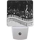 Lampada da notte a LED Pianoforte astratto Nota musicale Lampada da notte nera Lampada da ...