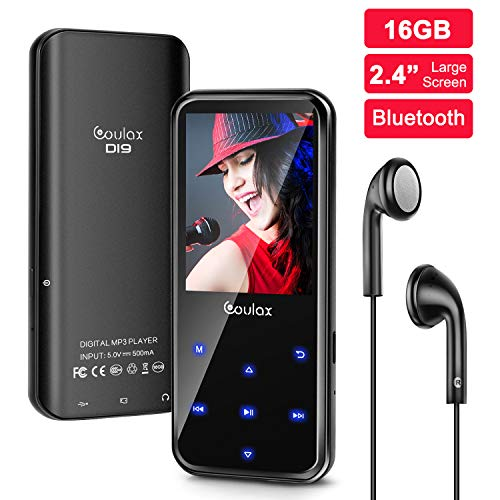 Mp3 Player 16GB with FM Radio,COULAX MP3 Music Player with Bluetooth 4.0,HiFi,Recorder E-Book, 2.4'' Screen Support up to 128GB (Free Headphone)