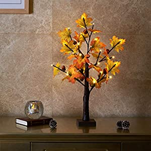 EAMBRITE 60CM 24LT Led Árbol de Arce de Otoño Iluminado Árbol de Mesa Decorativo Otoño Acción de Gracias Hogar Boda Fiesta…