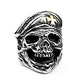 HHW Anello con Teschio in Acciaio Inossidabile 316L con Cappello A Croce in Oro per Gioielli di Moda da Uomo Esagerati Vintage Punk,11