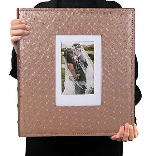 RECUTMS 4x6 Photo Album 600 Photos Large Capacity Black Inner Page Button Grain Leather Pockets Pictures Album Family Photo Albums Book Horizontal and Vertical Photos (Light Brown)