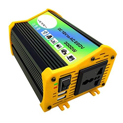 KESOTO Inversor de 300W DC 12V a AC con 2 Puertos de Carga USB para Acampar Al Aire Libre - Negro 220V